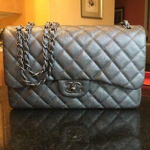 Chanel Dark Metallic Grey Caviar Jumbo Bag